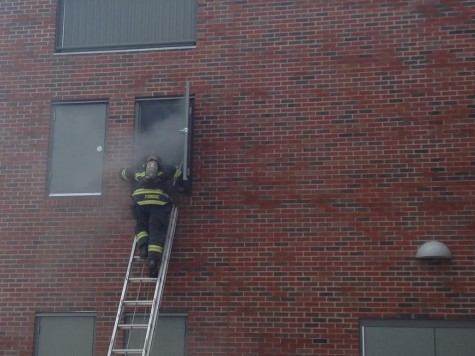 Fire fighter during fire simulation