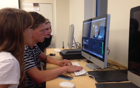 Video Essentials students Katrina Nickell, Sam Skaggs, and Hannah Glassmann work on editing their video about Kate Manfull. This video along with the others that the class created aired on June 24 in the LUTV studio.