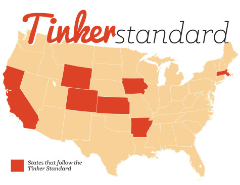 The states where the Tinker Standard has helped students gain more freedom of speech rights in their schools: Arkansas, California, Colorado, Iowa, Kansas, Massachusetts and Oregon.