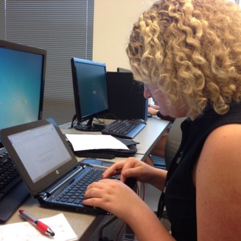 Abbey Temper, senior at Francis Howell North, is hard at work on her Editorial Leadership project.