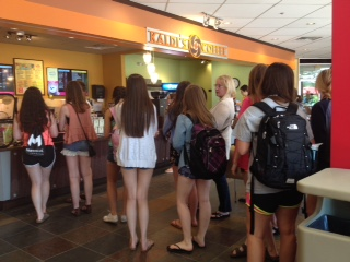 MediaNow students wait in line at Kaldi's coffee shop. Photo by: Cadie Elder