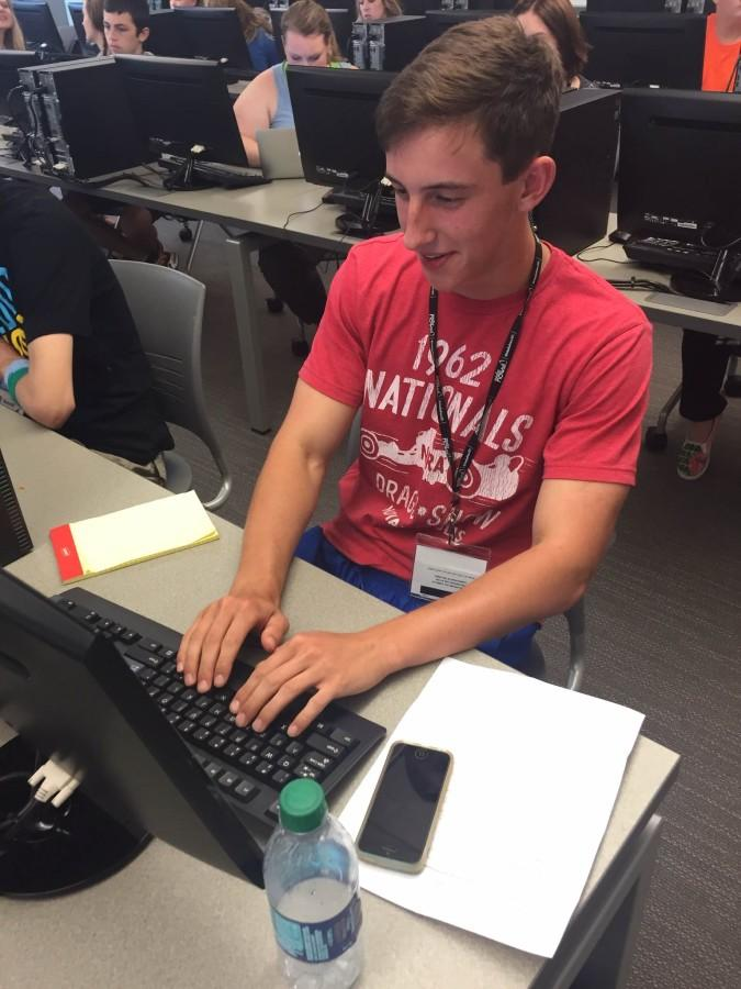 Student Garret Griffin works on his personal project