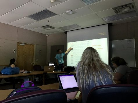 Aaron Manfull instructs his Advising Publications class on June 24. The advisers will continue to discuss topics and hear from guest speakers.